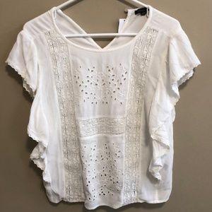 NWT AE White Cotton Blouse Sz M